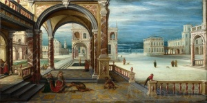 Full title: The Courtyard of a Renaissance Palace Artist: Hendrick van Steenwyck the Younger Date made: 1610 Source: http://www.nationalgalleryimages.co.uk/ Contact: picture.library@nationalgallery.co.uk Copyright (C) The National Gallery, London